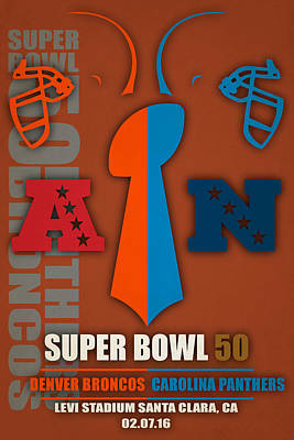 My Super Bowl 50 Broncos Panthers 5 Poster by Joe Hamilton