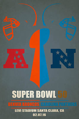 My Super Bowl 50 Broncos Panthers Poster by Joe Hamilton
