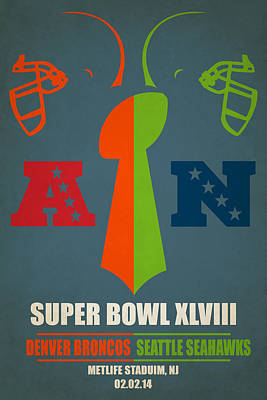 My Super Bowl Broncos Seahawks Poster by Joe Hamilton