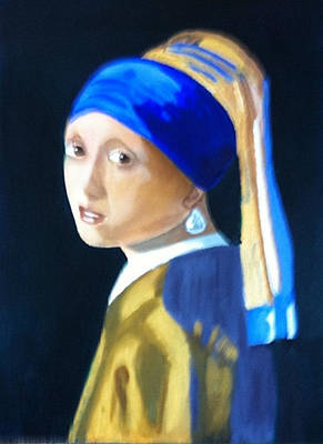 My Version-girl With The Pearl Earring Poster by Rod Jellison