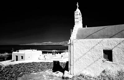 Mykonos Church Overlooking The Town Infrared Poster by John Rizzuto