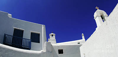 Mykonos Greece Clean Line Architecture Poster by Bob Christopher