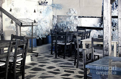 Mykonos Town Cafe Infrared Poster by John Rizzuto