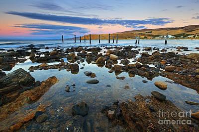 Myponga Beach Jetty Ruins Sunset Poster by Bill  Robinson