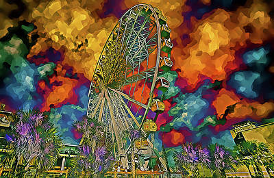 Poster featuring the photograph Myrtle Beach Skywheel Abstract by Bill Barber