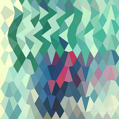 Myrtle Green Abstract Low Polygon Background Poster