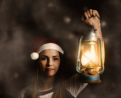 Mystery Woman On A Find And Seek Christmas Journey Poster by Jorgo Photography - Wall Art Gallery