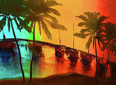 Mystic Bay Palms Rotate Poster by Ken Figurski