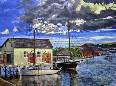 Poster featuring the painting Mystic Seaport Ct by Stuart B Yaeger