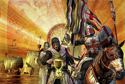 Mytery Of The Templar Knight Poster by Kurt Miller