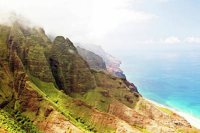 Na Pali Looking Down The Coastline Poster
