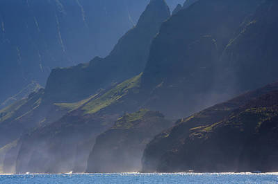 Na Pali Morning Mist Poster by Mike  Dawson