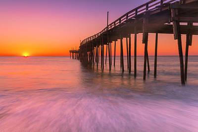 Nags Head Avon Fishing Pier At Sunrise Poster by Ranjay Mitra