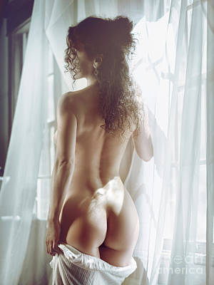 Naked Back Of A Beautiful Half Nude Woman Standing By The Window Poster