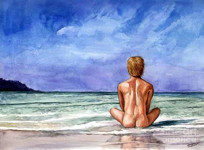Naked Male Sleepy Ocean Poster