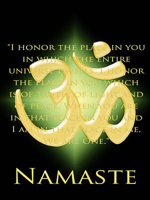 Namaste On Black Poster by Heidi Hermes