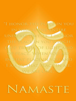 Namaste On Gold Poster by Heidi Hermes