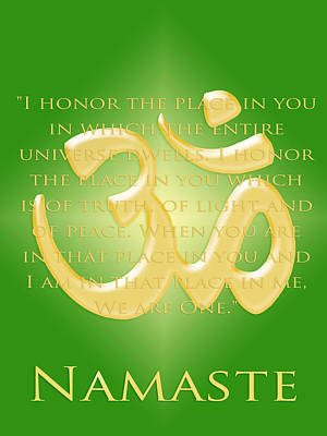 Namaste On Green Poster by Heidi Hermes