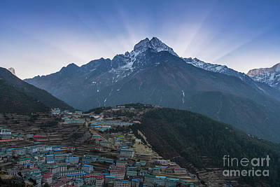 Poster featuring the photograph Namche And Thamserku Peak Morning Sunrays by Mike Reid
