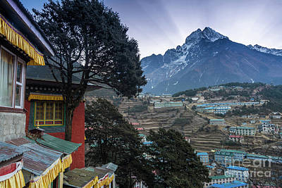 Poster featuring the photograph Namche Monastery Morning Sunrays by Mike Reid