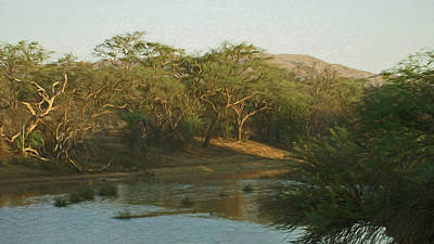 Poster featuring the digital art Namibian Waterway by Ernie Echols