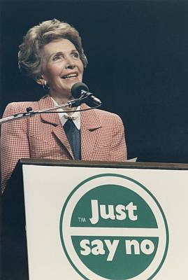 Nancy Reagan Speaking At A Just Say No Poster