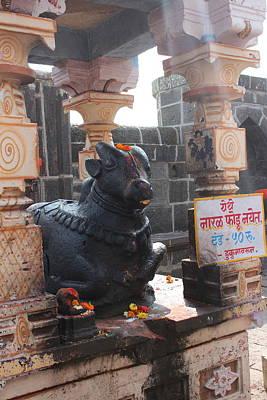 Nandi Guarding The Temple, Near Satara Poster