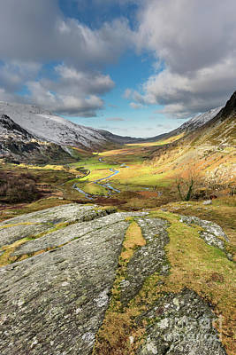 Nant Ffrancon Valley In Snowdonia Poster by Adrian Evans