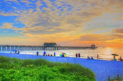 Poster featuring the digital art Naples Beach by Sharon Batdorf