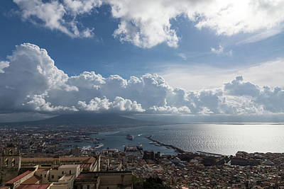Naples Italy Aerial Perspective - Dramatic Clouds Over The Harbor Poster