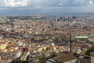 Naples Italy Aerial Perspective - Spaccanapoli Downtown And The Fabulous Clay Tile Rooftops Poster