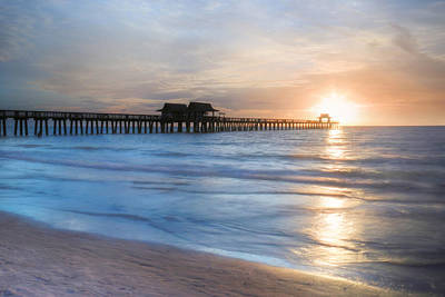 Naples Pier At Sunset Poster by Lori Deiter