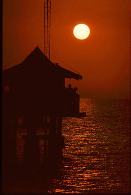 Naples Pier Sunset Poster by Michael L Kimble