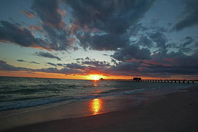 Naples Pier Sunset  Poster by Nick  Shirghio