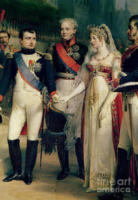 Napoleon Bonaparte Receiving Queen Louisa Of Prussia Poster by Nicolas Louis Francois Gosse