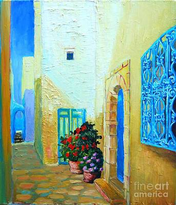 Poster featuring the painting Narrow Street In Hammamet by Ana Maria Edulescu