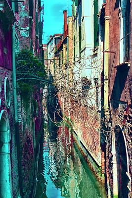 Narrow Water-street Of Medieval Venice Poster by George Westermak