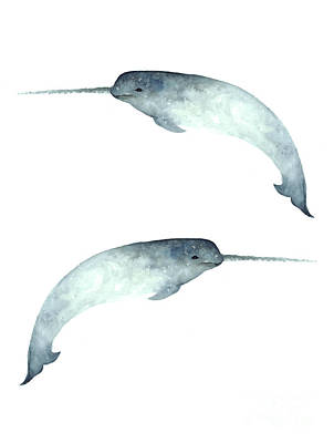 Narwhal Poster Watercolor Art Print Painting Poster by Joanna Szmerdt