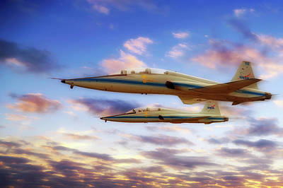 Poster featuring the photograph Nasa T-38 Talons At Sunrise - Pilot - Airplanes by Jason Politte