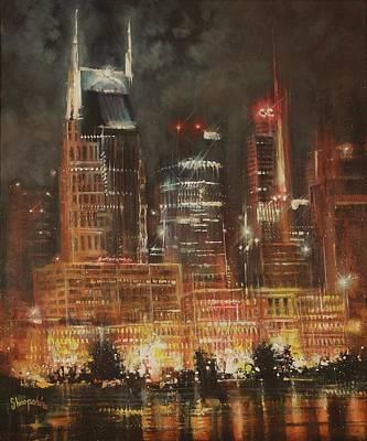 Nashville Nights Poster by Tom Shropshire