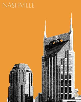 Nashville Skyline At And T Batman Building - Orange Poster