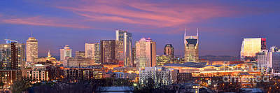 Nashville Skyline At Dusk 2018 Panorama Color Poster