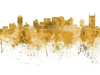 Nashville Skyline In Orange Watercolor On White Background Poster by Pablo Romero
