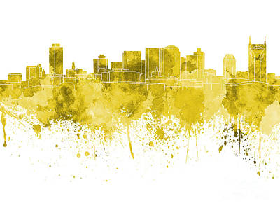 Nashville Skyline In Pink Watercolor On White Background Poster by Pablo Romero