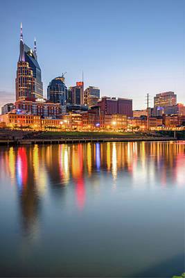 Poster featuring the photograph Nashville Skyline Reflections - Color Edition by Gregory Ballos