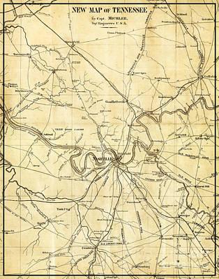 Nashville Tennessee Antique Vintage City Map Poster