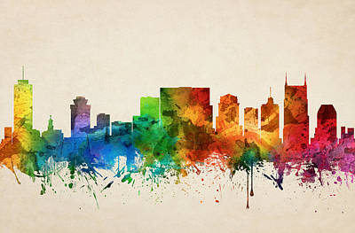 Nashville Tennessee Skyline 05 Poster by Aged Pixel