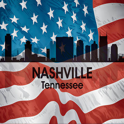 Nashville Tn American Flag Squared Poster by Angelina Vick