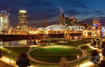 Poster featuring the photograph Nashville Twilight Skyline by Brian Jannsen