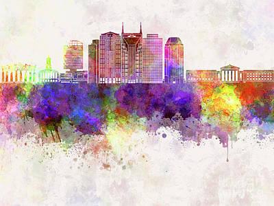 Nashville V2 Skyline In Watercolor Background Poster by Pablo Romero